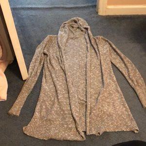 Gray hooded cardigan